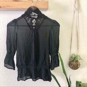 Zara high neck sheer Victorian lace neck blouse